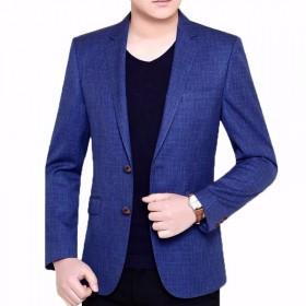 春秋冬格子西装青年男士西服休闲单外套上衣爸爸外套