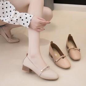 浅口单鞋女2019春夏新款韩版豆豆鞋蝴蝶结奶奶鞋