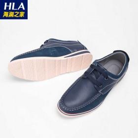 男士皮鞋青年商务头层软牛皮男鞋拼接系带舒适休闲皮鞋