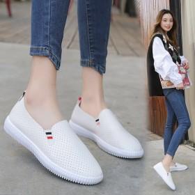 新款韩版百搭经典小白鞋懒人鞋一脚蹬透气女鞋豆豆鞋