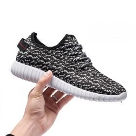 知路新款韩版飞织透气跑步鞋情侣鞋椰子鞋男学生休闲鞋