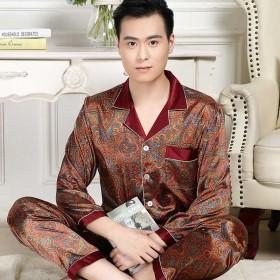 丝绸睡衣薄款套装春秋季男士韩版青年长袖长裤加肥