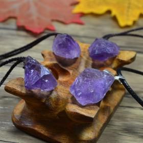春夏新品天然紫水晶原石吊坠项链女款 简约复古锁骨链
