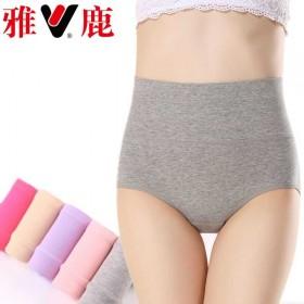 女式内裤4条装棉质高腰95%棉纯色收腹提臀三角裤头