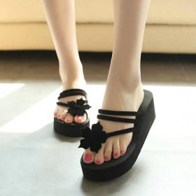 新款人字拖鞋女韩版潮流高跟厚底拖鞋女沙滩防滑凉拖鞋