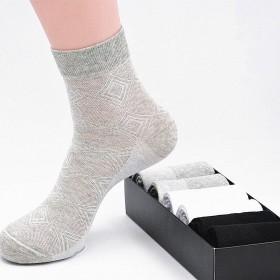 6双袜子男中筒薄款网眼透气男袜纯色棉袜夏季商务男袜