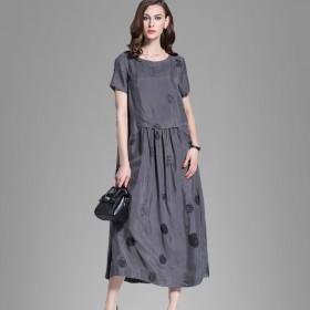 连衣裙圆点中长款铜氨丝裙子长裙子