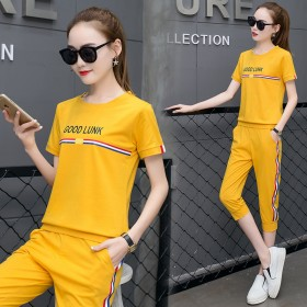 运动服套装女夏2018新款韩版纯棉大码修身两件套夏