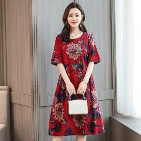 中年花色连衣裙夏季女妈妈宽松大码短袖裙子