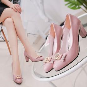 抢新促销春秋新款低帮鞋女鞋高跟瓢鞋粗跟水钻蝴蝶结