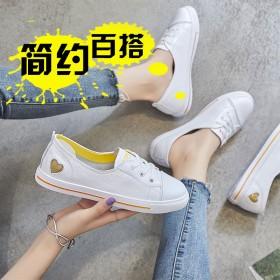 2019春季新款韩版浅口小单鞋真皮系带小白鞋乐福鞋