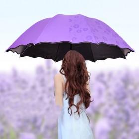 遇水开花雨伞 情侣雨伞 黑胶防晒晴雨两用雨伞