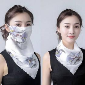 防晒口罩护颈女士雪纺透气面罩骑车开车防紫外线小丝巾