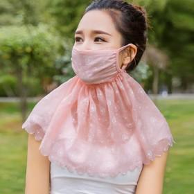 防晒口罩女春季薄款防紫外线护颈披肩透气遮阳面罩面纱