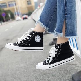 女鞋布鞋韩版女系带鞋情侣帆布鞋