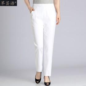 中老年女裤宽松高腰棉质妈妈裤子松紧腰弹力休闲九分裤