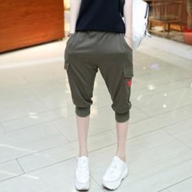 夏装新款韩版大码女装七分裤加大号宽松休闲显瘦
