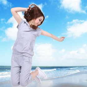 胖MM 夏 套装 短袖 宽松T恤 七分裤2件套