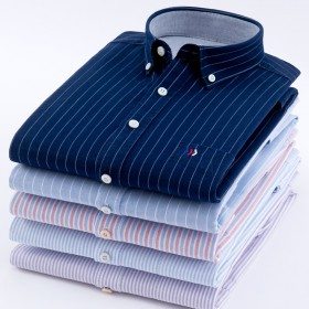 男士衬衫棉长袖衬衫男宽松中年免烫商务休闲衬衣