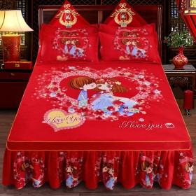加厚斜纹磨毛大版花床裙床罩单件韩版大红床上用品