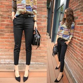 九分裤女春夏休闲裤修身显瘦秋装黑色西装裤八分小脚裤