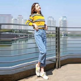 牛仔裤女高腰直筒显瘦宽松韩版浅色网红百搭2019夏