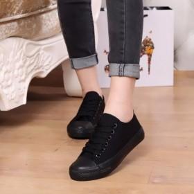 黑帆布鞋韩版纯黑色低帮少女女士球鞋