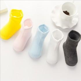1双春秋季新款全精梳棉纯色男女儿童袜子