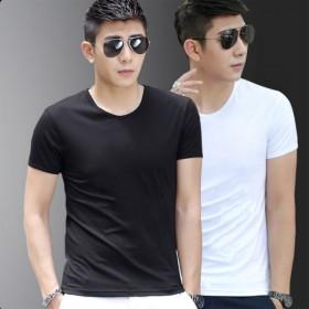 短袖t恤男纯色含棉圆领打底衫韩版潮流学生体恤大码