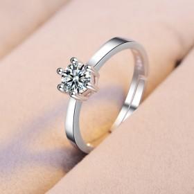 纯银戒指女开口钻戒