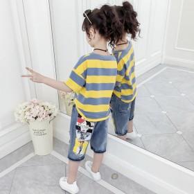 女童套装2019春夏新款运动洋气条纹T恤牛仔裤两件