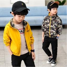 双面童装男童外套春秋款棒球夹克中大童迷彩两面穿上衣