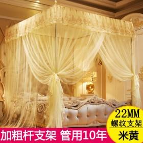 蚊帐家用床加粗支架三开门宫廷公主加密双人纹帐多尺寸