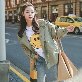 港风工装外套女韩版宽松学生新款春秋装复古学院风衣
