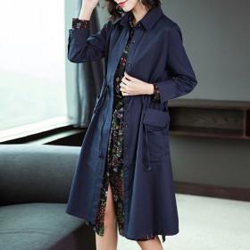 气质春季新款中长款风衣纯色修身气质显瘦休闲外套