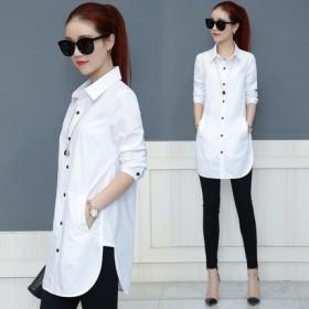 【95棉】衬衫春装新款大码女装韩范中长款衬衣领潮