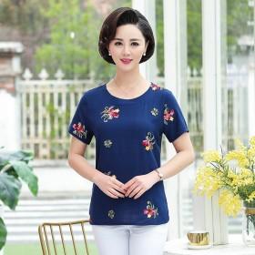 天猫棉麻短袖绣花T恤