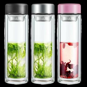 双层玻璃杯男士水杯便携隔热带盖过滤网茶杯女士家用