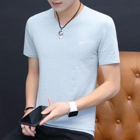 男士短袖T恤衫v领修身棉半袖体恤打底透气青年