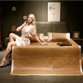 藤席夏凉席1.5米1.8m床冰丝折叠双人席三件套
