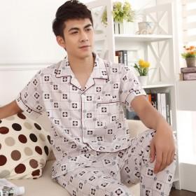 男士睡衣夏季薄款短袖长裤套装休闲宽松大码家居服套装