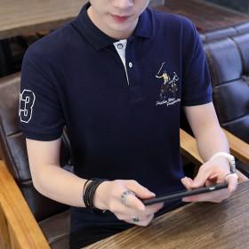 夏季純棉短袖polo衫韓版青年翻領修身繡花T恤男士