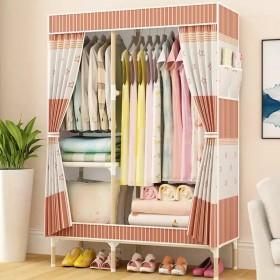 简易衣柜实木衣橱组装折叠租房布衣柜收纳架收纳柜加固