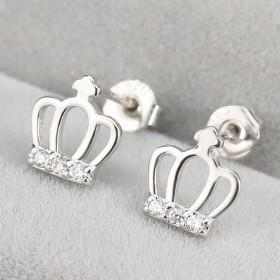 耳钉十字皇冠耳环
