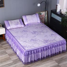 蕾丝边冰丝凉席床裙式三件套可拆卸折叠床罩式冰凉席