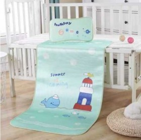 婴儿凉席宝宝卡通冰丝席儿童凉席加厚三明治图案带枕头