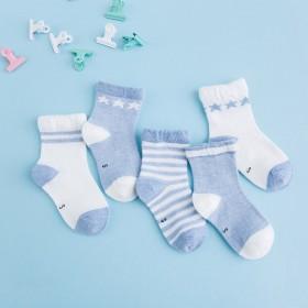 5双儿童袜子薄款甜美可爱粉色童袜舒适透气全棉袜时