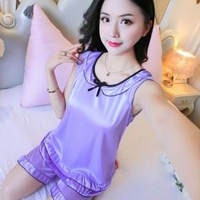 夏季短袖两件套家居服性感冰丝睡衣女韩版可爱大码套装