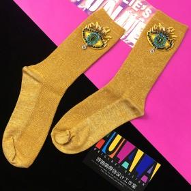 呼啦啦手工原创金银丝堆堆袜女 亮丝中筒手工眼睛袜