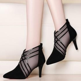 春夏新款网纱韩版女士镂空尖头高跟鞋凉鞋女鞋子细跟单
